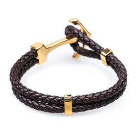 Gold Anchor Rope Brown Bracelet