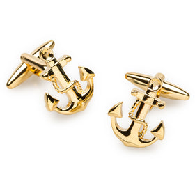 Gold Anchor Rope Cufflinks