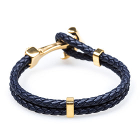 Gold Anchor Rope Navy Bracelet