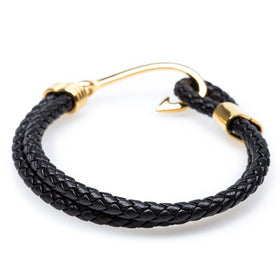 Gold Fish Hook Black Bracelet
