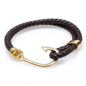 Gold Fish Hook Brown Bracelet