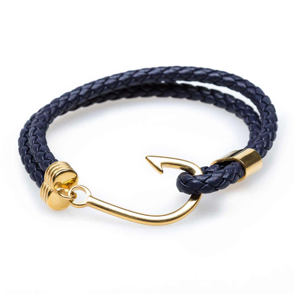 mens hook nautical leather for bracelets products gold bracelet fish navy