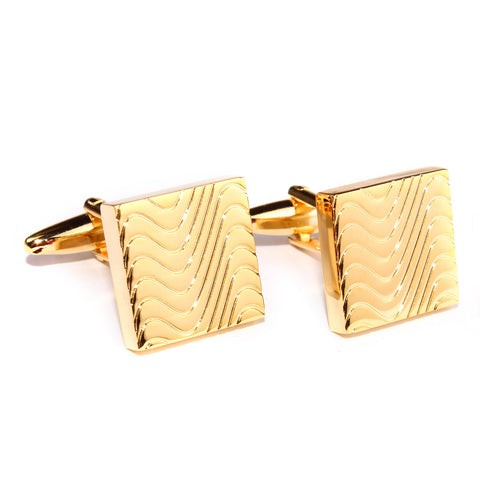Gold Square Wave Cufflinks