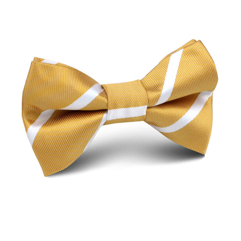 Gold Striped Kids Bow Tie
