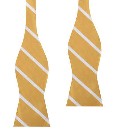 Gold Striped Self Bow Tie
