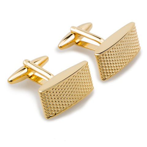 Gold Textured Rectangular Bend Cufflinks