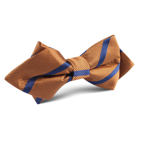 Golden Brown Pencil Stripe Diamond Bow Tie