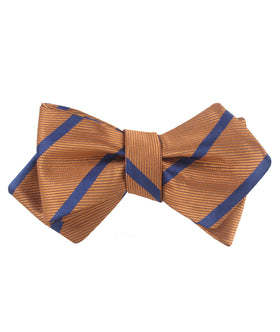 Golden Brown Pencil Stripe Diamond Self Bow Tie