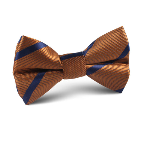 Golden Brown Pencil Stripe Kids Bow Tie