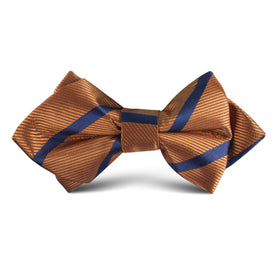 Golden Brown Pencil Stripe Kids Diamond Bow Tie