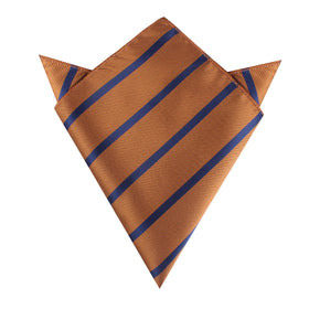 Golden Brown Pencil Stripe Pocket Square