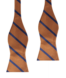 Golden Brown Pencil Stripe Self Bow Tie
