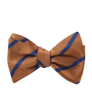 Golden Brown Pencil Stripe Self Tied Bowtie