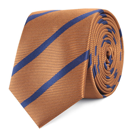 Golden Brown Pencil Stripe Skinny Tie