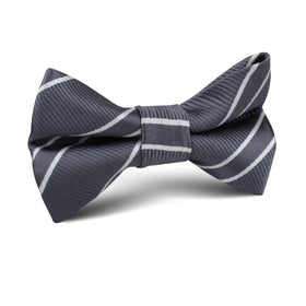 Graphite Charcoal Grey Double Stripe Kids Bow Tie