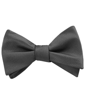 Charcoal Graphite Charcoal Grey Weave Self Bow Tie