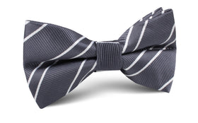 Graphite Charcoal Grey Double Stripe Bow Tie