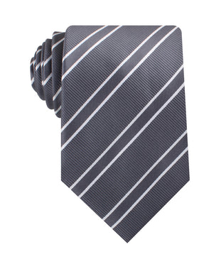 Graphite Charcoal Grey Double Stripe Necktie