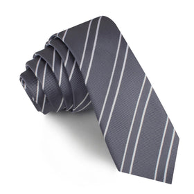 Graphite Charcoal Grey Double Stripe Skinny Tie