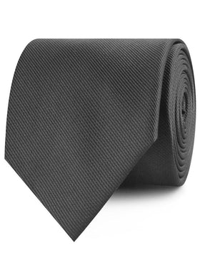 Graphite Charcoal Grey Weave Necktie