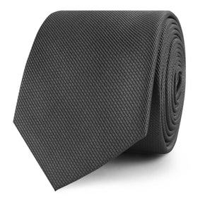 Graphite Charcoal Grey Weave Skinny Tie