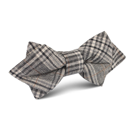 Gray Glenurquhart Linen Diamond Bow Tie