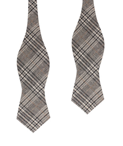 Gray Glenurquhart Linen Diamond Self Bow Tie