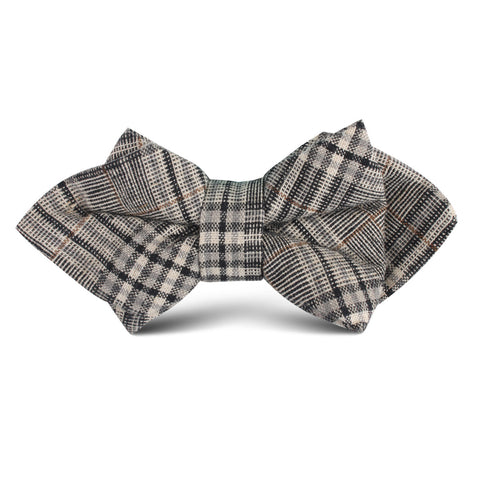 Gray Glenurquhart Linen Kids Diamond Bow Tie
