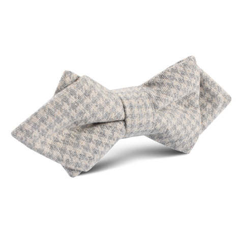Gray Houndstooth Khaki Linen Diamond Bow Tie