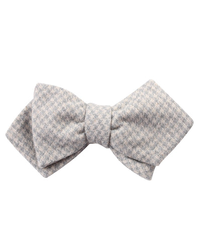 Gray Houndstooth Khaki Linen Diamond Self Bow Tie