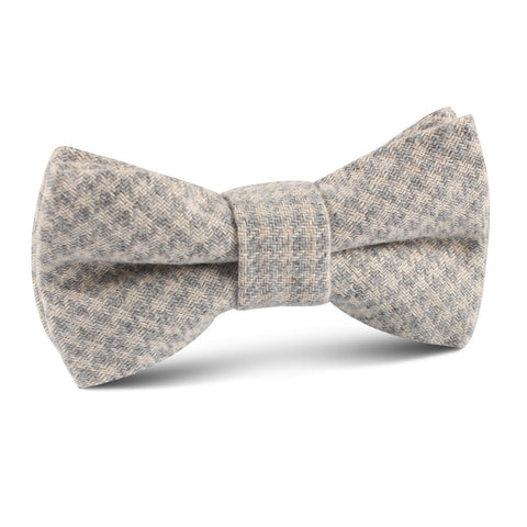 Gray Houndstooth Khaki Linen Kids Bow Tie
