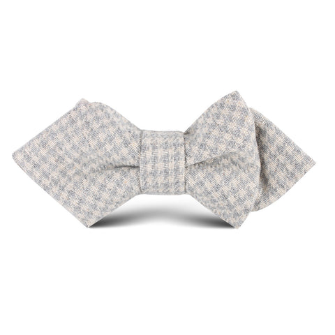 Gray Houndstooth Khaki Linen Kids Diamond Bow Tie