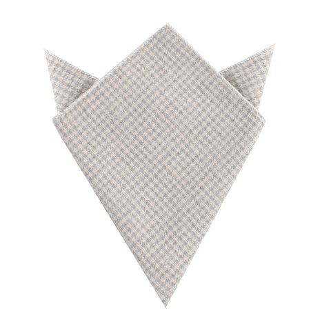 Gray Houndstooth Khaki Linen Pocket Square