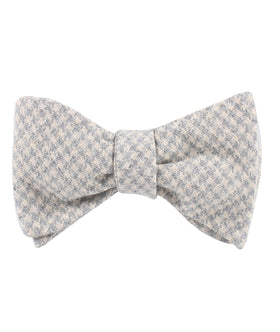 Gray Houndstooth Khaki Linen Self Bow Tie