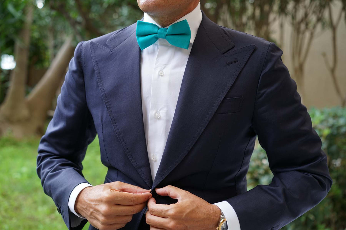 Green Teal Cotton Bow Tie