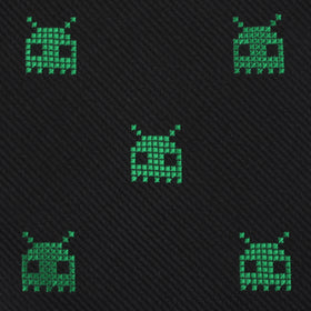 Green Alien Pixel Invader Bow Tie