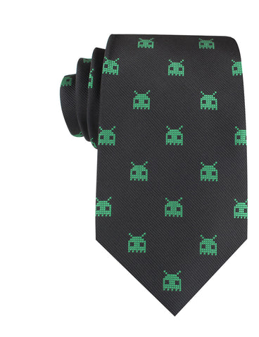 Green Alien Pixel Invader Necktie