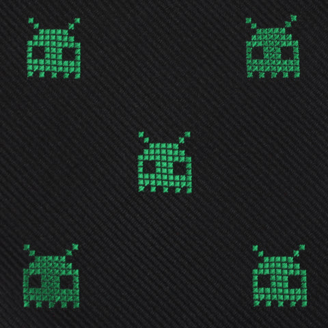 Green Alien Pixel Invader Pocket Square