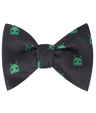 Green Alien Pixel Invader Self Bow Tie