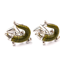Charming Green Crocodile Cufflinks