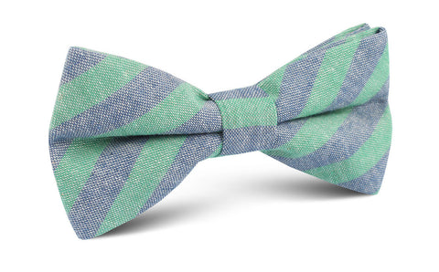 Green & Blue Bengal Linen Bow Tie