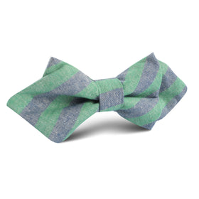 Green & Blue Bengal Linen Diamond Bow Tie