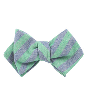 Green & Blue Bengal Linen Diamond Self Bow Tie