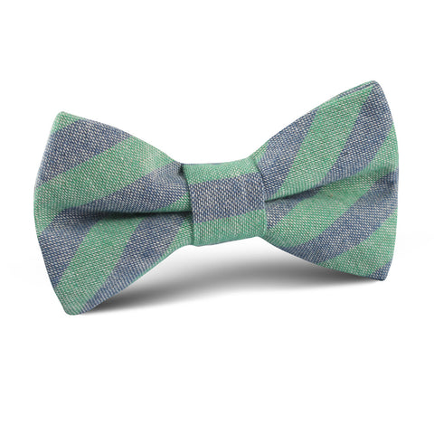 Green & Blue Bengal Linen Kids Bow Tie