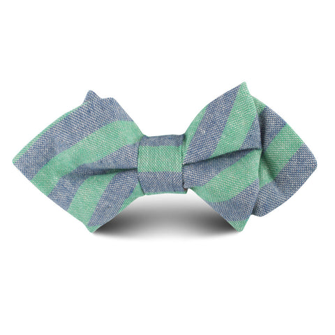 Green & Blue Bengal Linen Kids Diamond Bow Tie