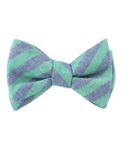 Green & Blue Bengal Linen Self Bow Tie
