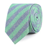 Green & Blue Bengal Linen Slim Tie