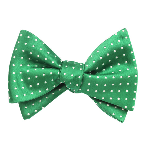 Green Bow Tie Untied with White Polka Dots