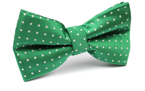 Green Bow Tie with White Polka Dots