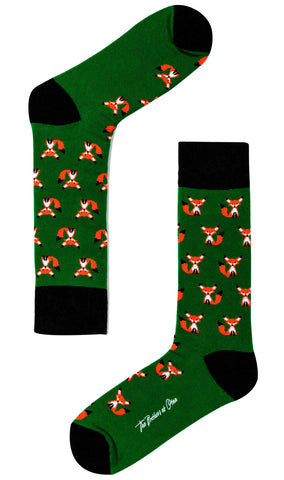 Green Curious Fox Socks